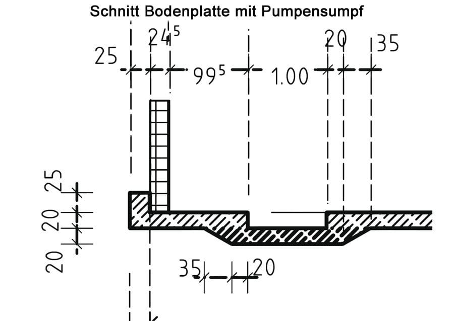 Güllebehälter - Schnitt Bodenlatte mit Pumpensumpf - FF Agrarbau
